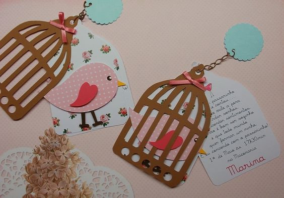 Convite de chá de bebê pássaros