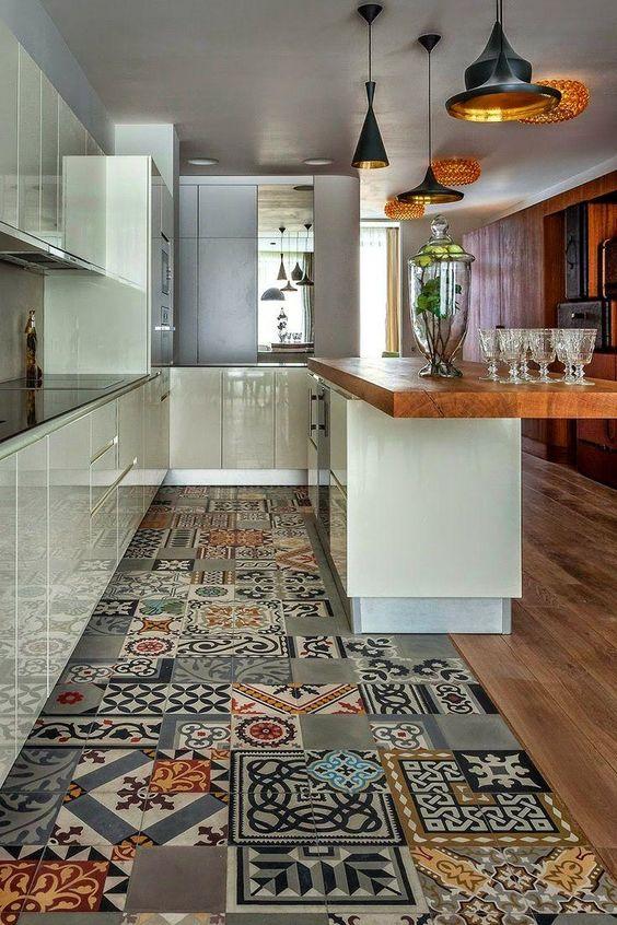 Os melhores pisos para cozinha Ladrilhos hidráulicos