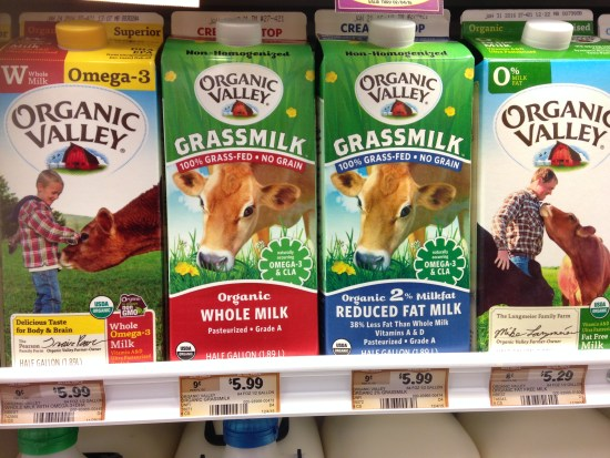 Milk carton at the store are both pastured milk. One is whole fat, one is low-fat. Same price. Unfair. Nutrition tips, omega 3 fatty acids.