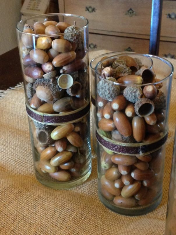 Craft idea using acorns in a jar