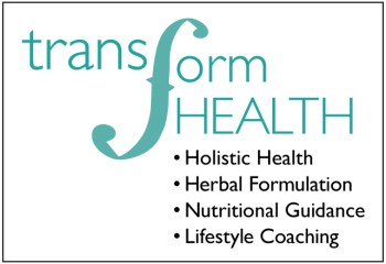 Teal Transform Health logo and four service areas: Holistic Health, Herbal Formulation, Nutritional Guidance, and Lifestyle Coaching