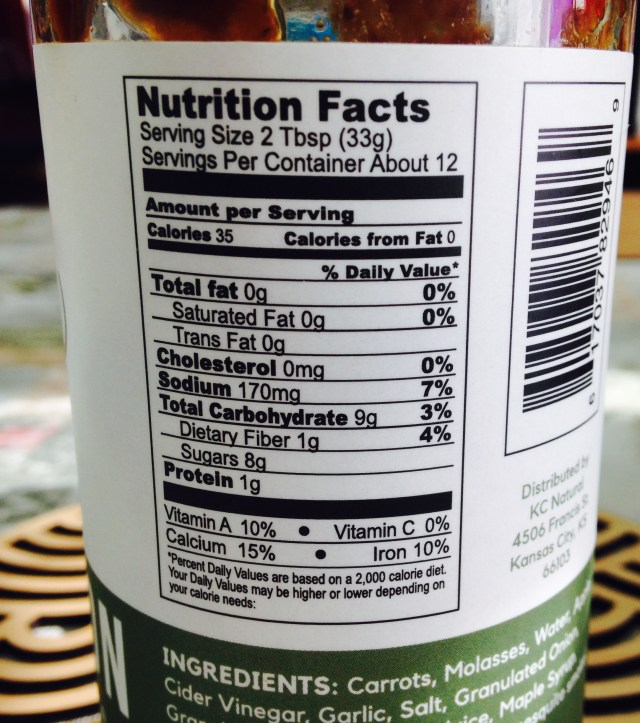 nutrition information, nutrition list, list of sugar, list of carbohydrates, KC Natural Mastodon Paleo AIP BBQ Sauce, review and taste test of low sugar Paleo barbecue sauce, review of low carb BBW sauce, taste test of low sugar BBQ sauce, Paleo barbecue sauce review, KC Natural brand