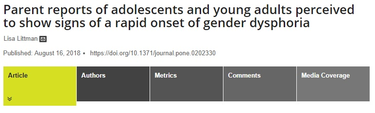 PLOS ONE Has Republished The Study Of Parental Reports Adolescents Experiencing Rapid Onset Gender Dysphoria By Dr Lisa Littman