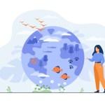heureuse-femme-debout-pointant-globe-illustration-plate-diversite-flore-faune_74855-10814