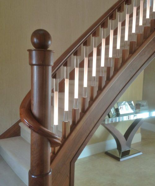 Spindles illuminated staircase