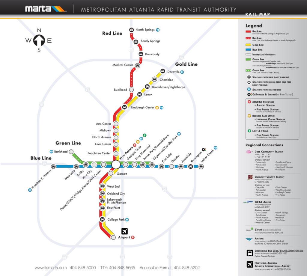 Transit Maps: Official Map: MARTA Rail System, Atlanta ...