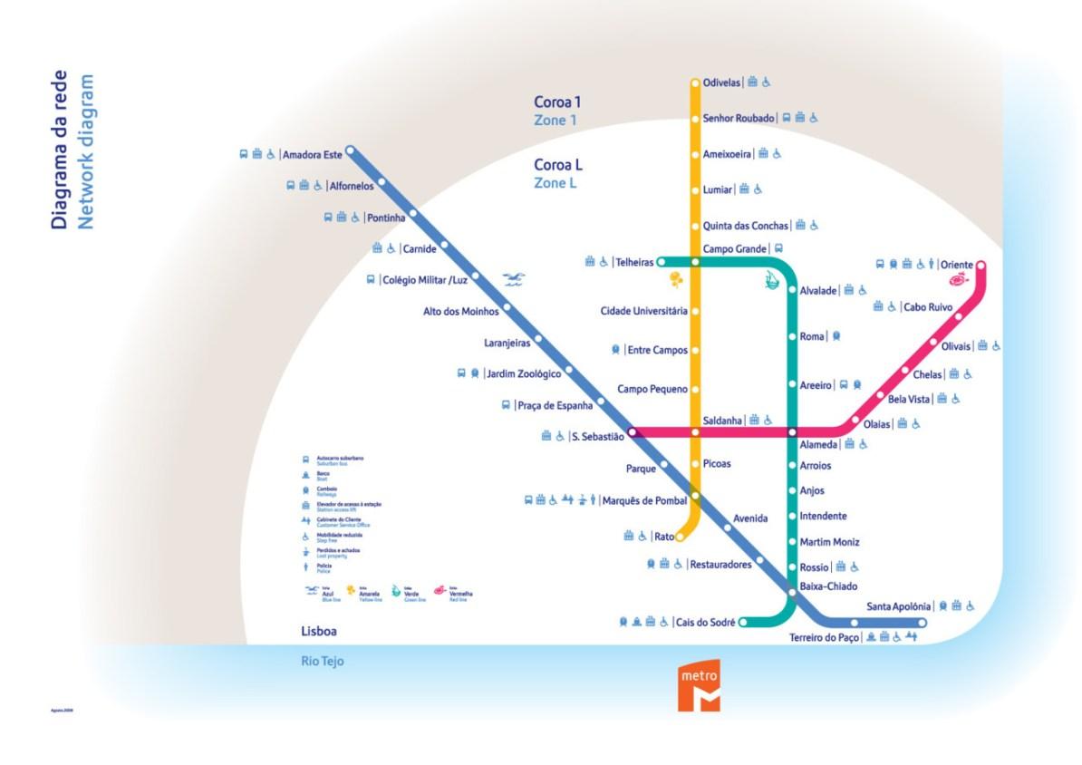 Subway Map Of Lisbon.Transit Maps Official Map Metro Lisbon Portugal 2011