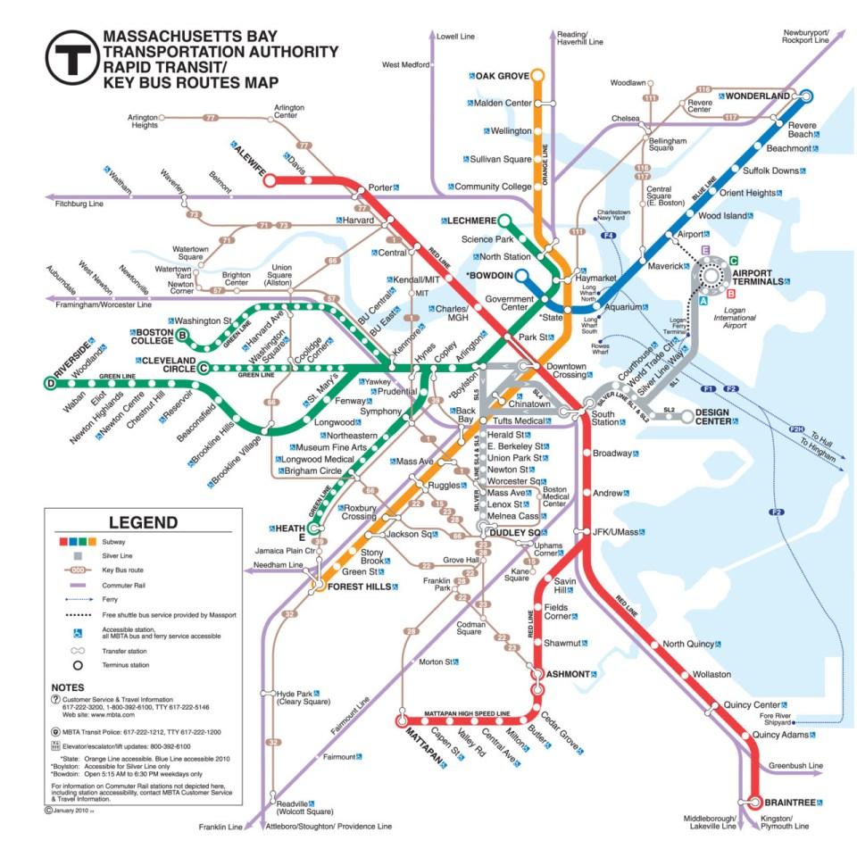 mbta map of boston Transit Maps Official Map Boston Mbta Rapid Transit Key Bus mbta map of boston