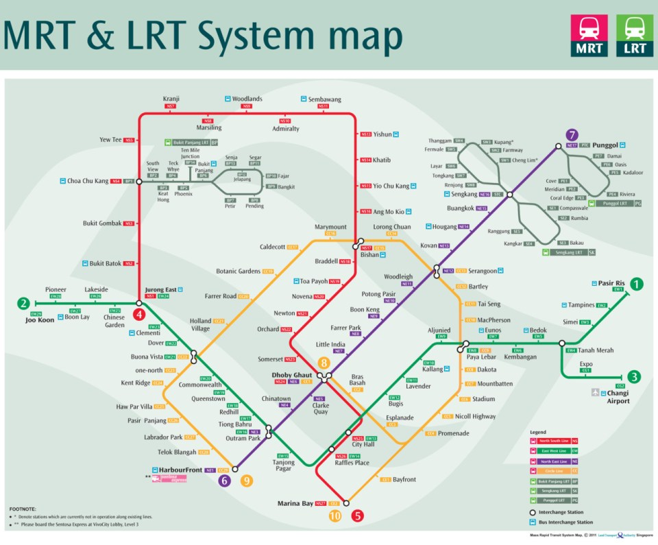 Transit Maps: Official Map: Singapore MRT/LRT System Map, 2012 on