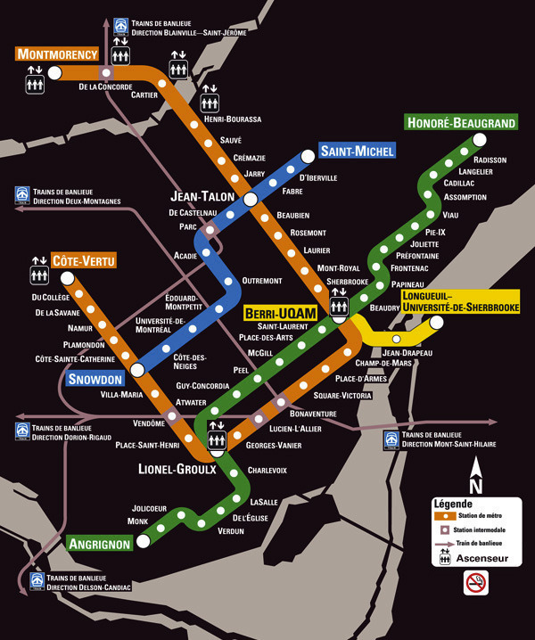 Subway Map Montreal.Transit Maps Official Map Metro De Montreal Quebec Canada 2012