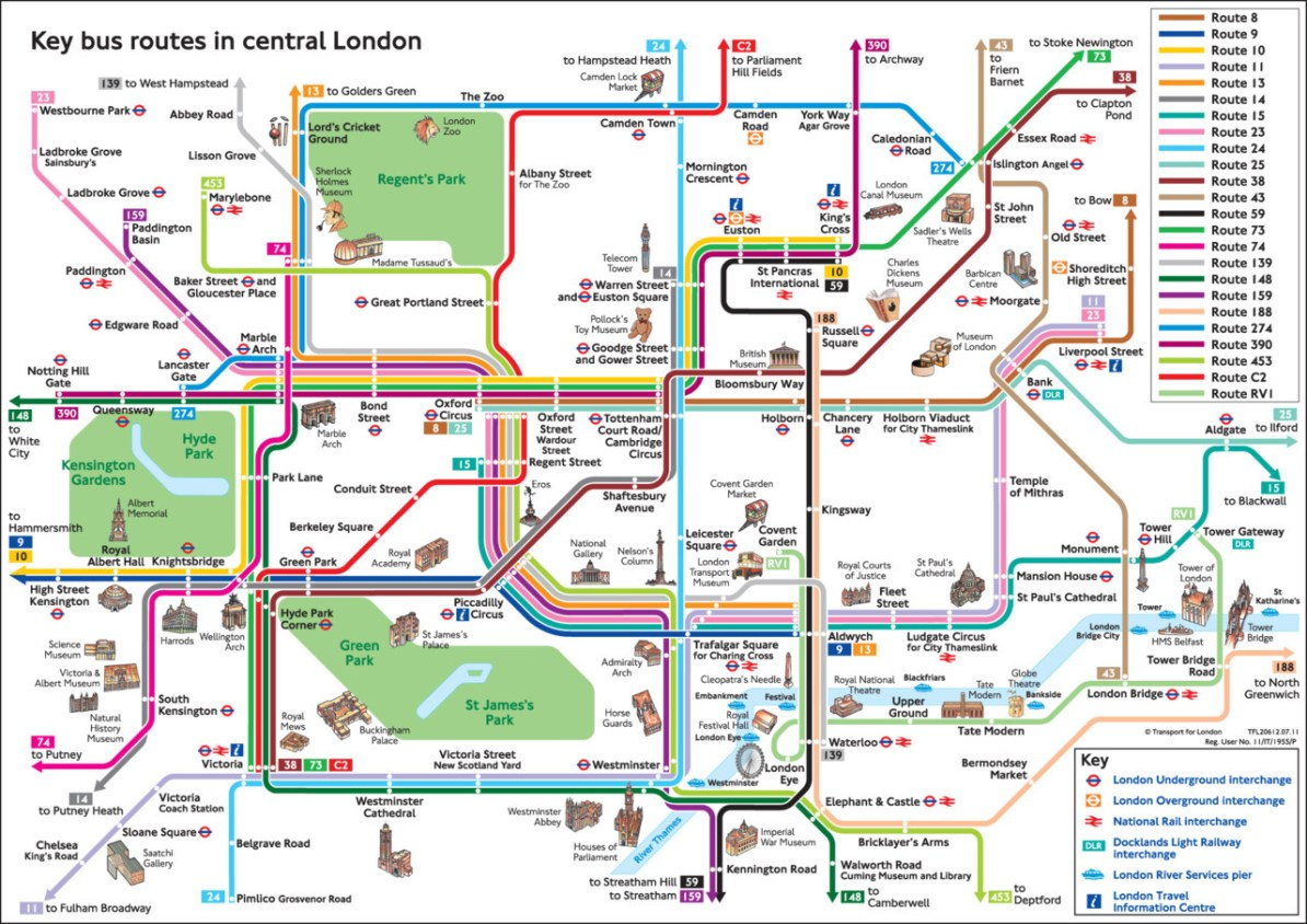 Map Bus London.Transit Maps Official Map Key Bus Routes In Central London 2012