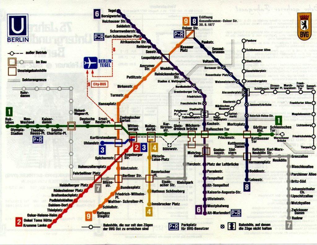 Berlin Wall Subway Map.Transit Maps Historical Map West Berlin U Bahn Map 1977