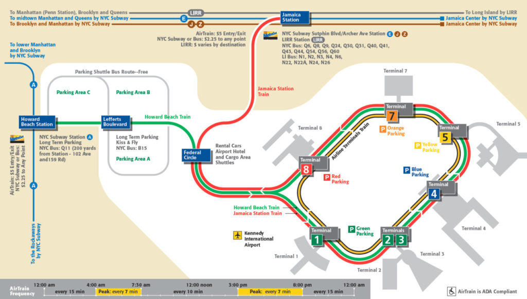 Airport New York Map.Transit Maps Official Map Jfk Airport Airtrain Map New York 2011