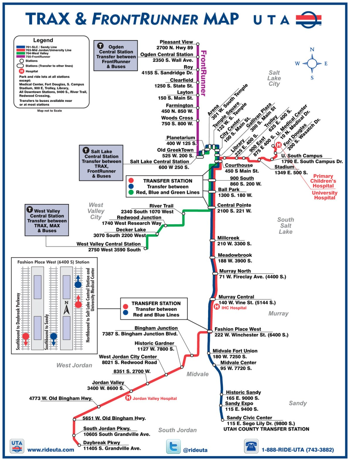 Transit Maps: Official Map: TRAX and FrontRunner Rail Map ... on cincinnati public transportation map, santa clara public transportation map, boston public transportation map, florida public transportation map,