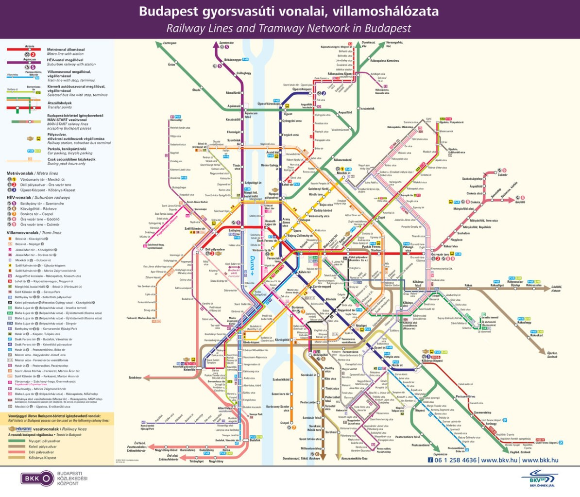 Budapest Subway Map English.Transit Maps Official Map Rail And Tram Network Budapest Hungary