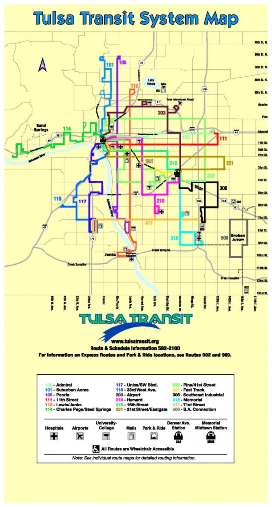 transit maps: official map: bus routes of tulsa, oklahoma