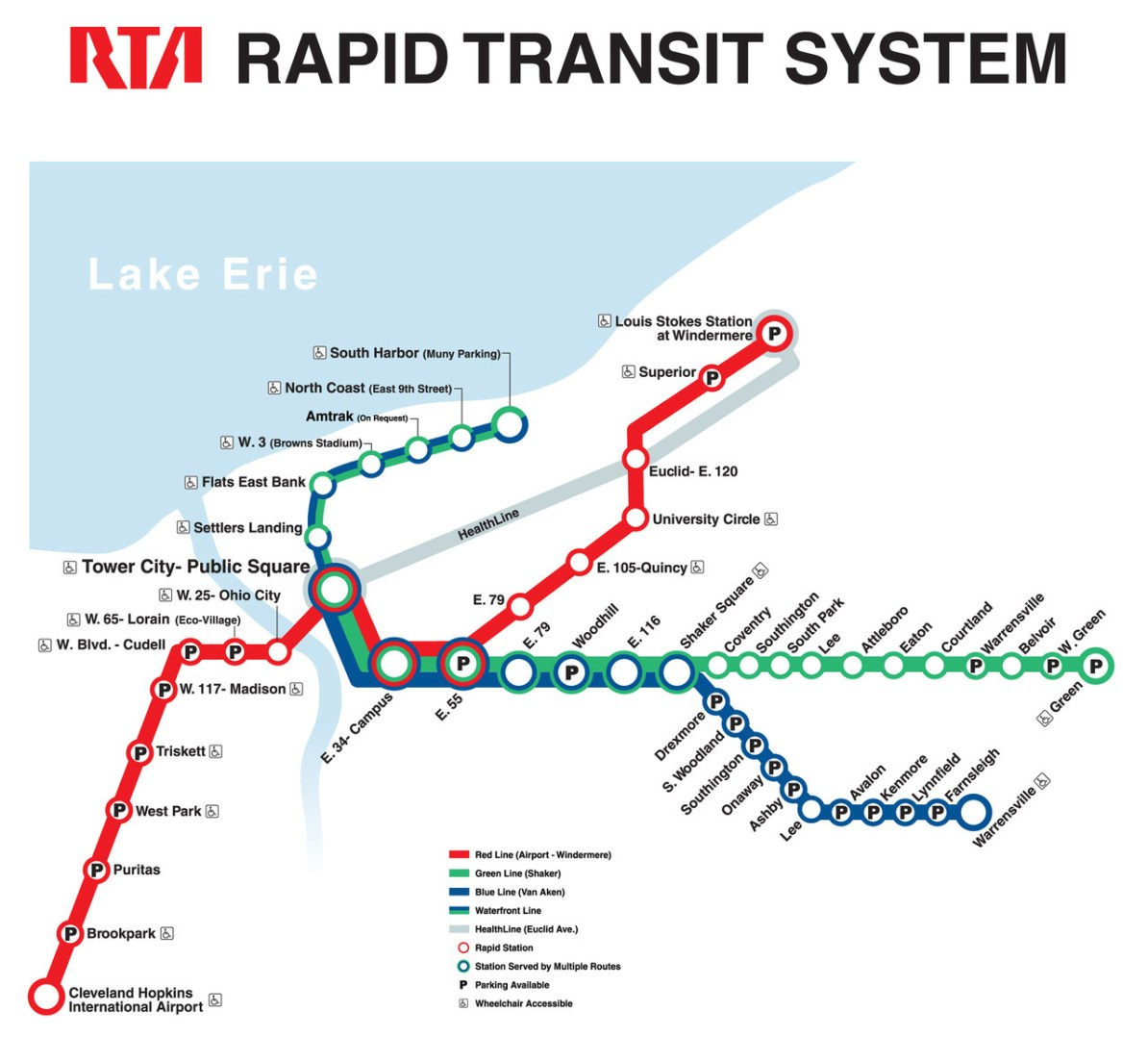 Transit Maps Official Map Rapid Transit Of Cleveland