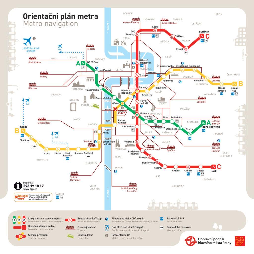 Transit Maps Official Map Prague Metro Orientation Map 2012