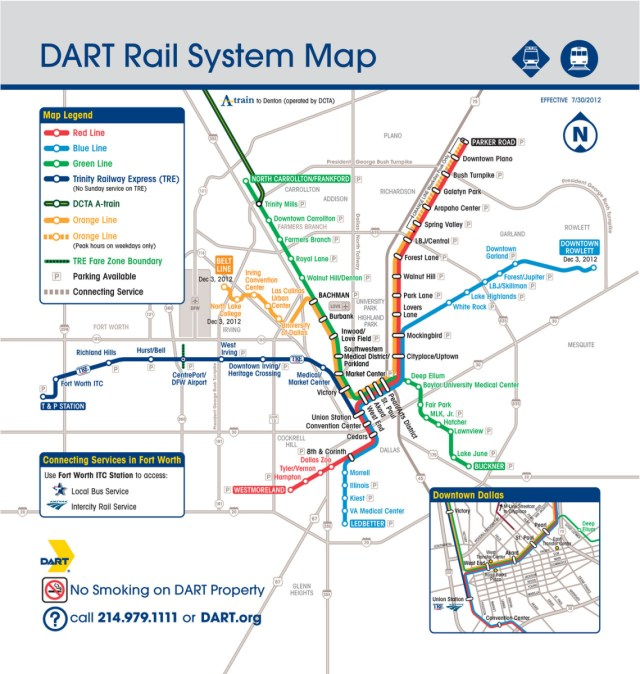 Dart Dallas Map Transit Maps: Official Map: Dallas DART Light Rail System, 2012