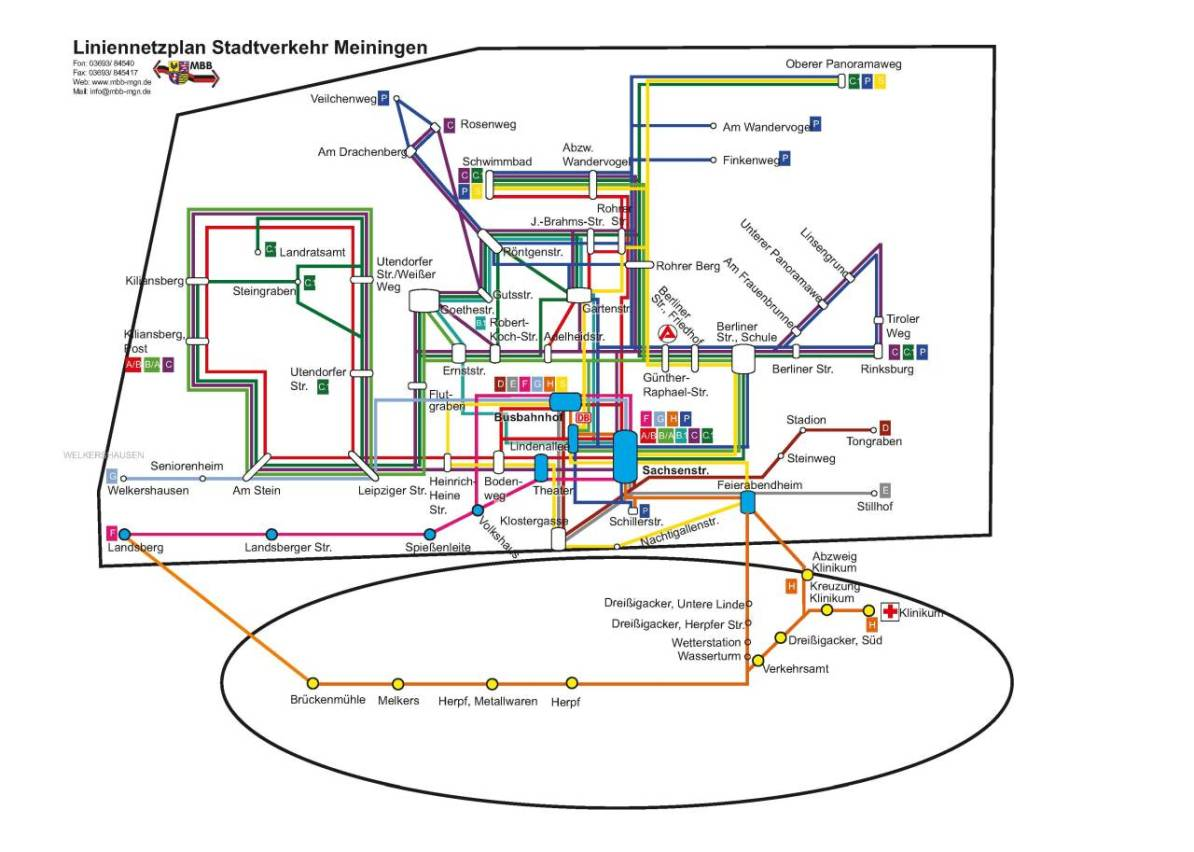 Transit Maps: Official Map: Bus System of Meiningen, Germany