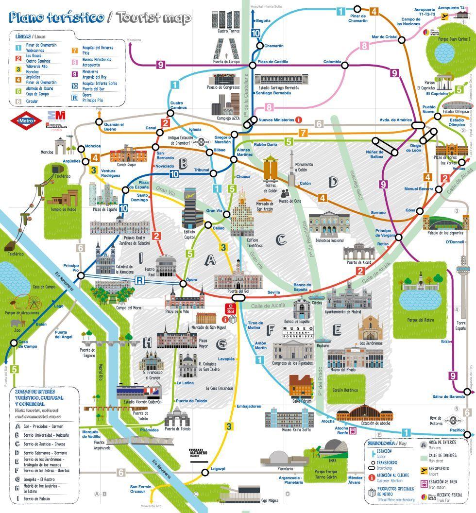 Subway Madrid Map.Transit Maps Official Map Madrid Metro Tourist Map 2013