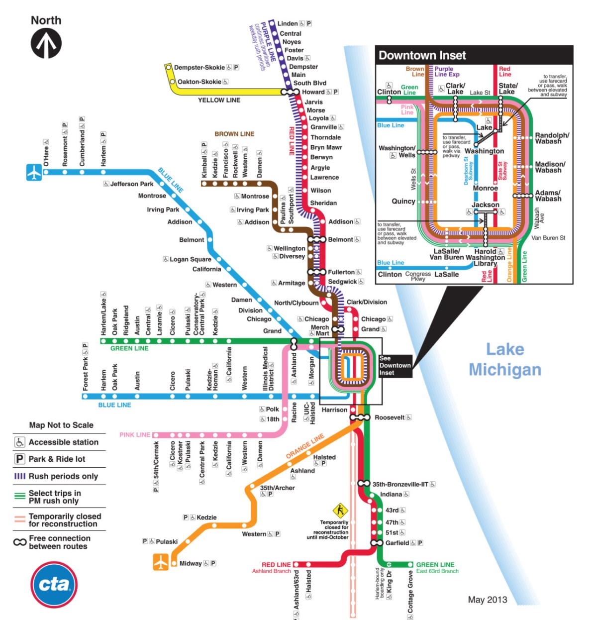 Chicago Subway Map Downtown.Transit Maps Behind The Scenes Evolution Of The Chicago Cta Rail