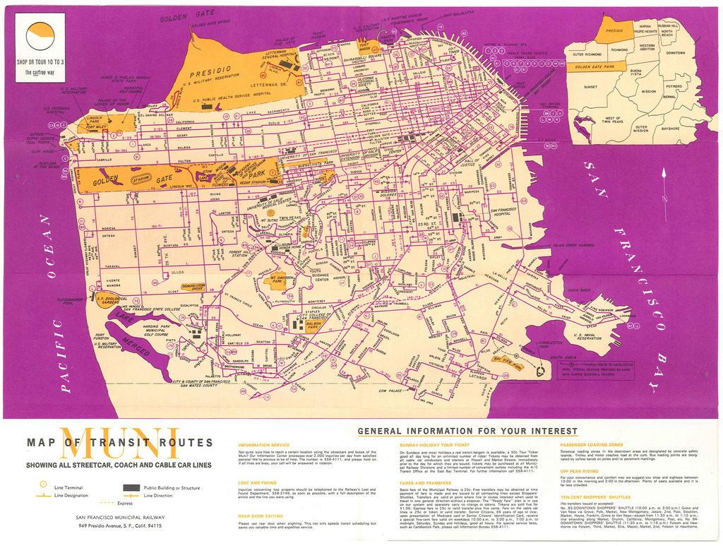 San Francisco Muni Metro Map.Transit Maps Historical Map San Francisco Muni Transit Routes 1970