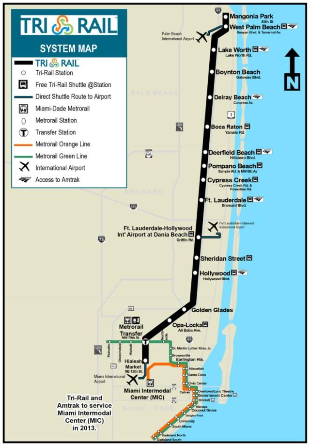 Tri Rail Map South Florida Transit Maps: Official Map: Tri Rail Commuter Rail, Southern