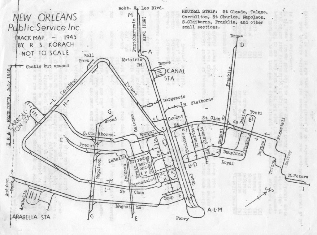 Transit Maps Historical Map New Orleans Streetcar Trackage Map 1945