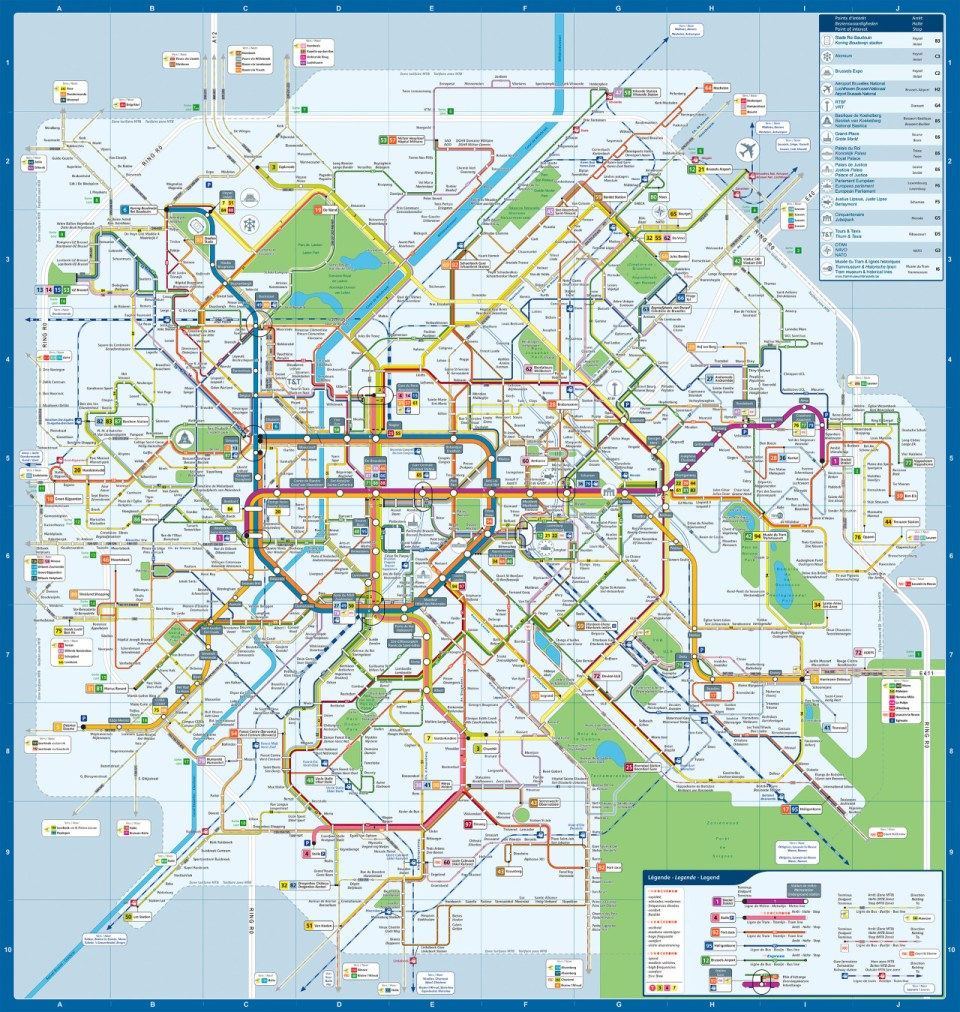 Transit Maps: Official Map: Brussels Integrated Transit Map