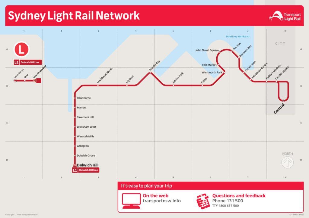 Transit Maps: Official Map: Sydney Light Rail Network, 2014