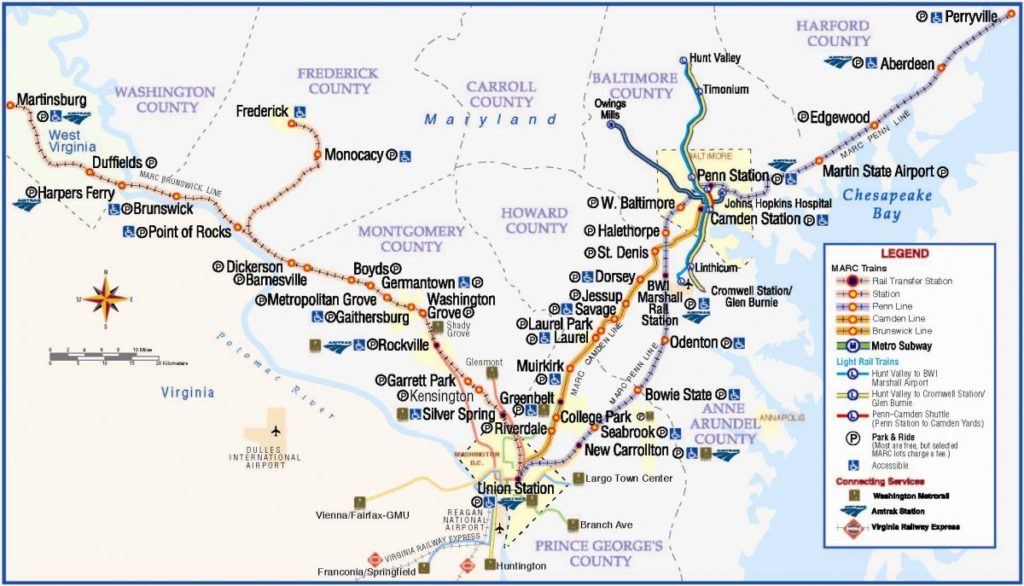 maryland light rail map Transit Maps Official Map Marc Commuter Rail Map 2014 maryland light rail map