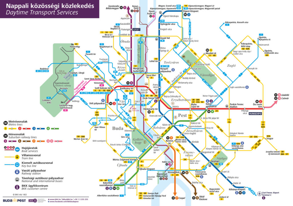 Transit Maps: Official Map: Daytime Transport Services of Budapest ...