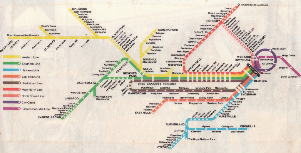 Transit Maps: Historical Map: Sydney Rail Network, Early 1980s