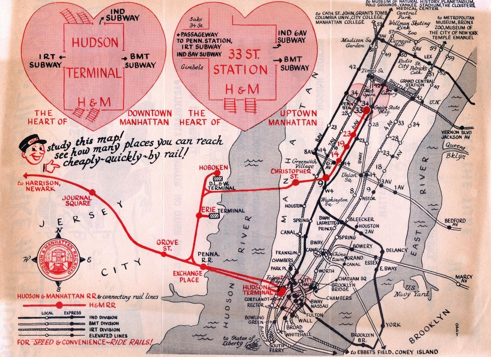 1950s Mbta Elevated Subway Map.Transit Maps Historical Map Hudson Manhattan Railroad C 1950 1953