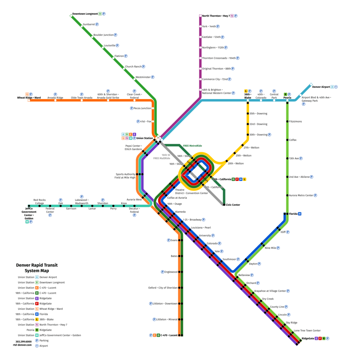 Transit Maps Unofficial Future Map Denver Rtd Rail Transit By Theo