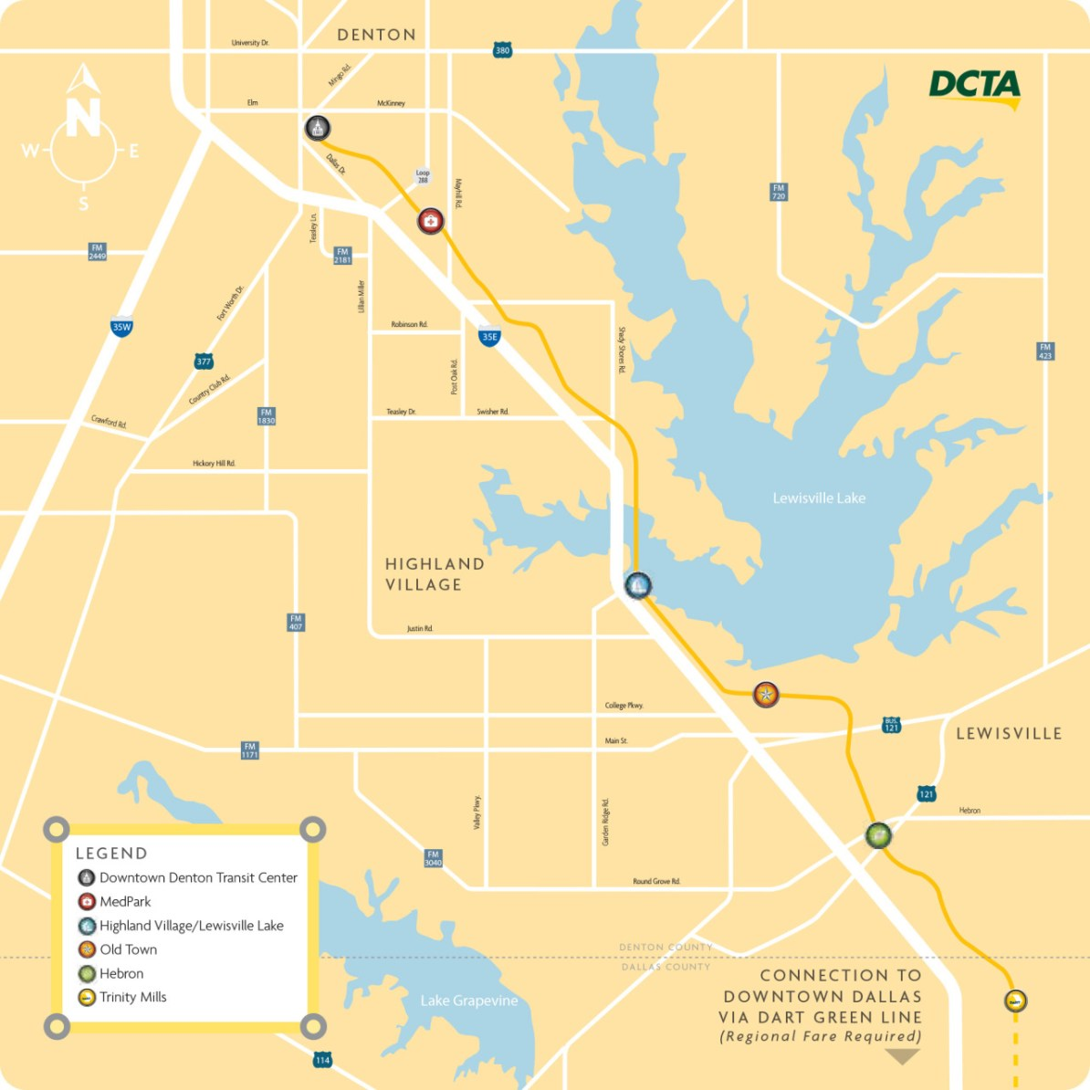 Transit Maps: Submission – Official Map: DCTA A-Train Map, Denton on