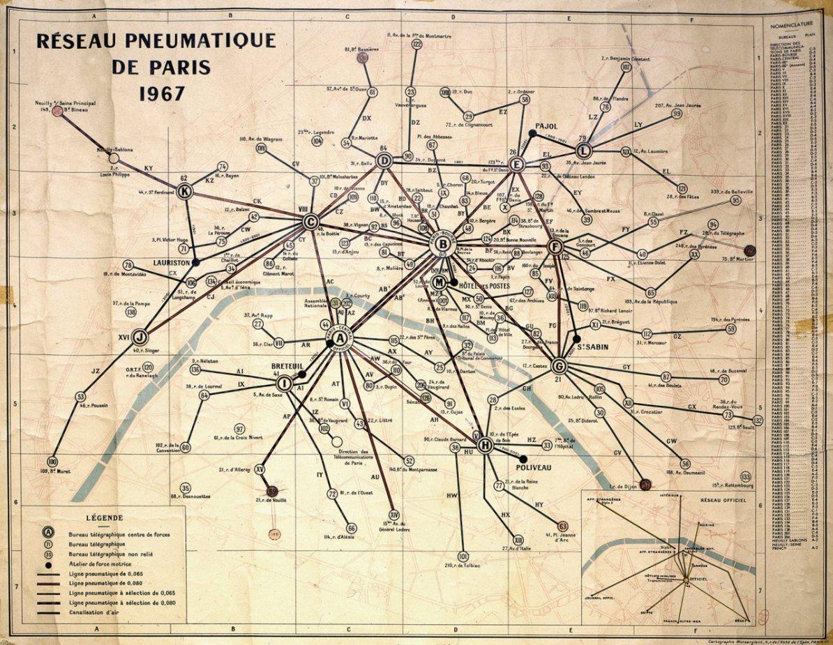 Карта подземной пневматической транспортной системы Парижа, 1967 г.