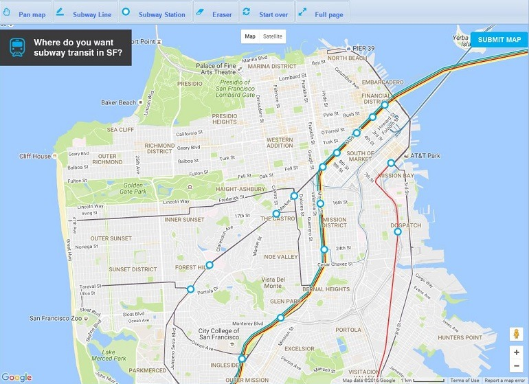 Brand New Subway Map.Transit Maps Official Map Draw Your Own Future Sfmta Transit Map