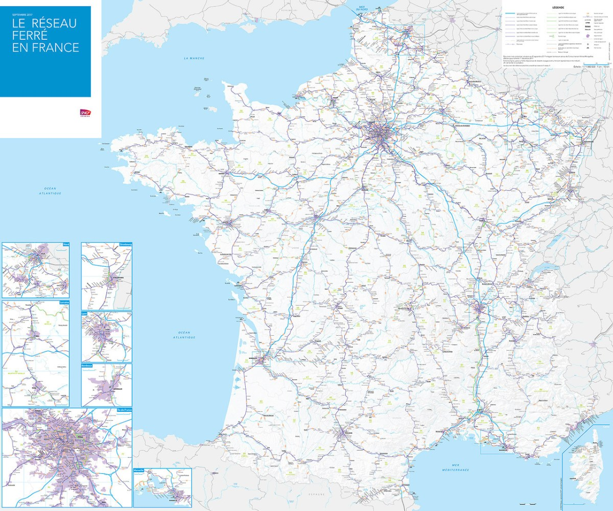 Transit Maps: Official Map: Railway Track Map of France, 2017