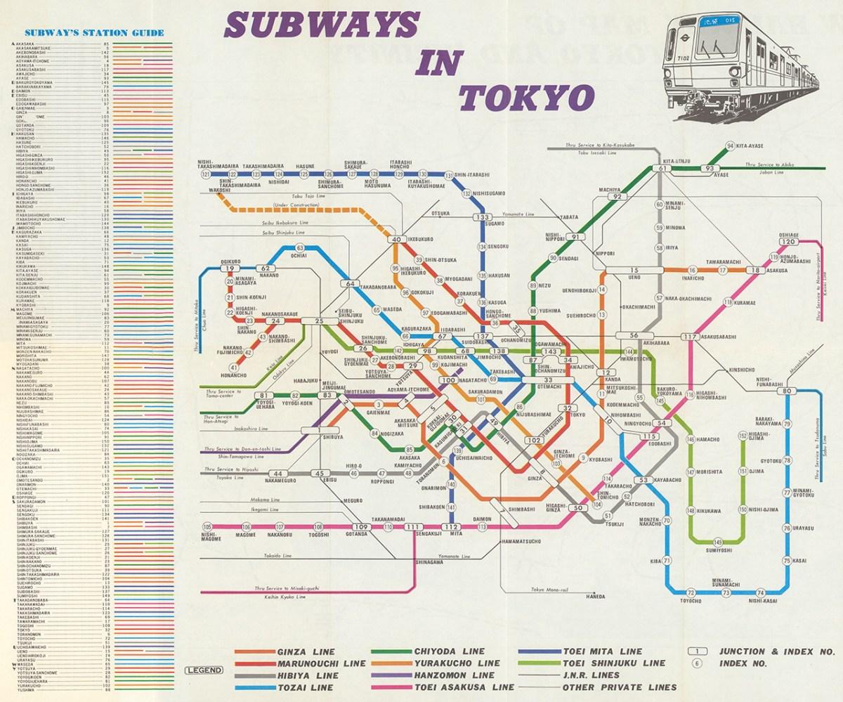 Tokyo Subway Maps.Transit Maps Historical Map Subways In Tokyo 1975