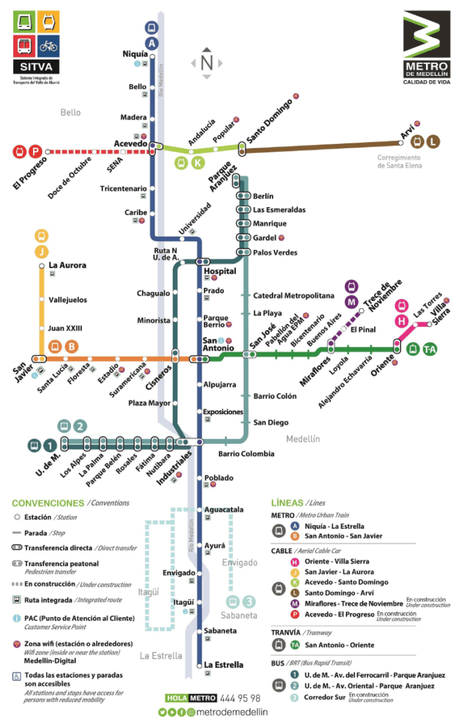 Transit Maps: Submission – Official Map: Metro de Medellin Map, 2018