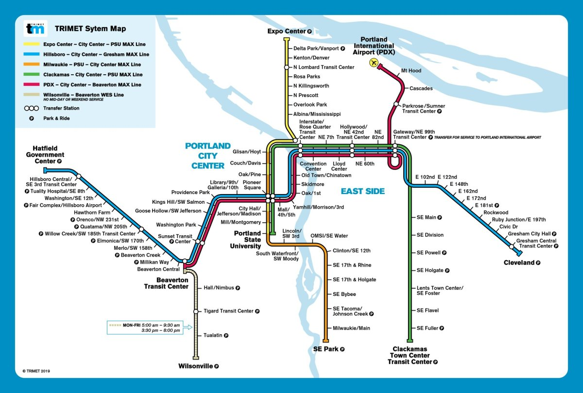 max line map portland Transit Maps Mash Up Map Trimet Max In The Style Of Bart max line map portland