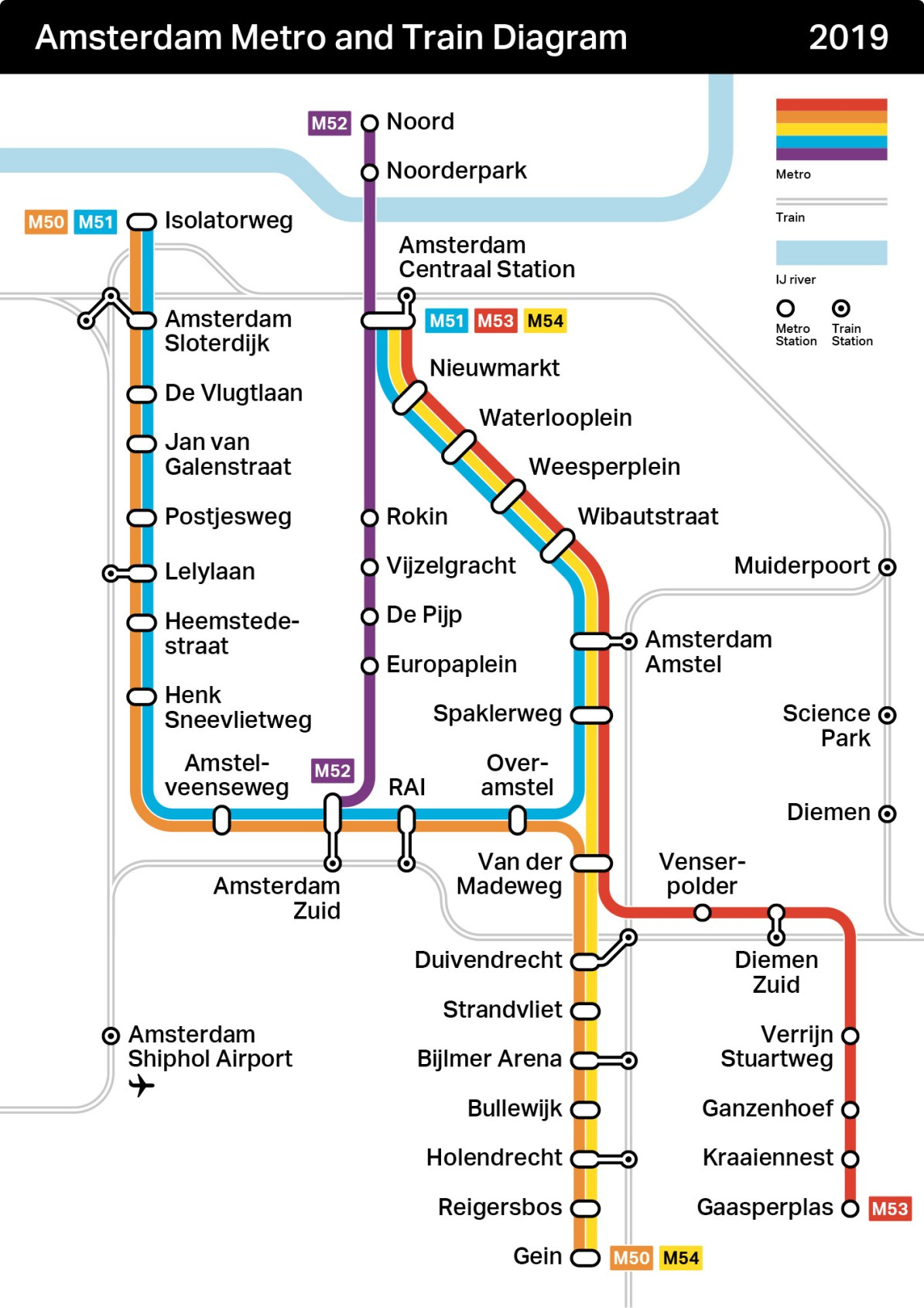 Amsterdam Subway Map.Transit Maps Unofficial Map Amsterdam Metro And Rail Map 2019 By