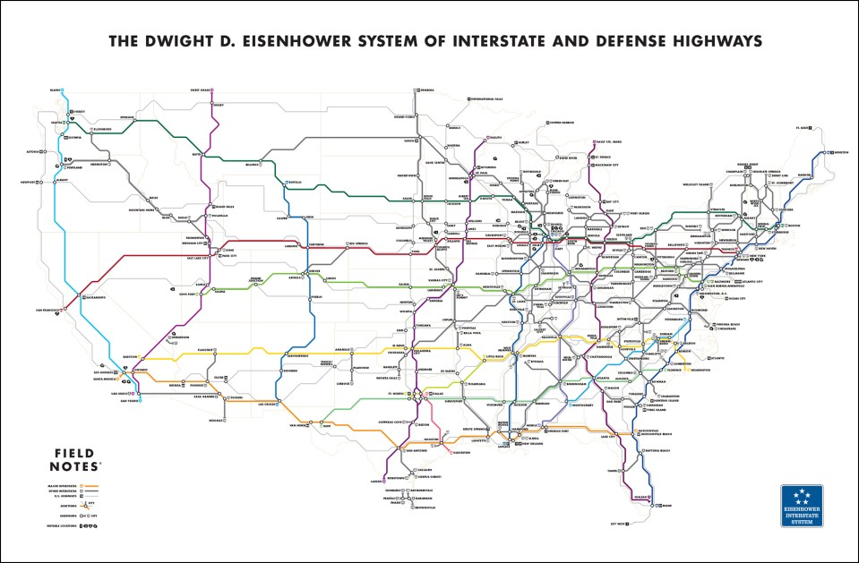 """Us Highway Map With Mile Markers Transit Maps: New Project: Field Notes Brand """"Mile Marker"""" Map"""