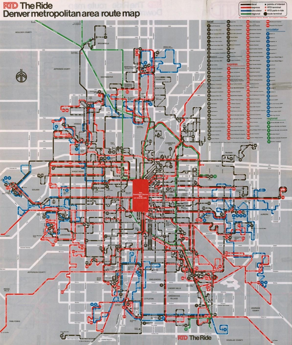 Transit Maps: Historical Map: Denver RTD Bus Network, 1977 on denver college, denver schools map, denver bike paths, denver culture map, denver rtd zones, denver taxi map, denver zip code boundary map, denver trails map, denver toll map, denver surrounding cities, denver freeways, denver rtd map, denver tourism map, denver hotels map, denver lrt map, denver beer company, denver bus system, denver national airport, denver mugshots, denver region map,