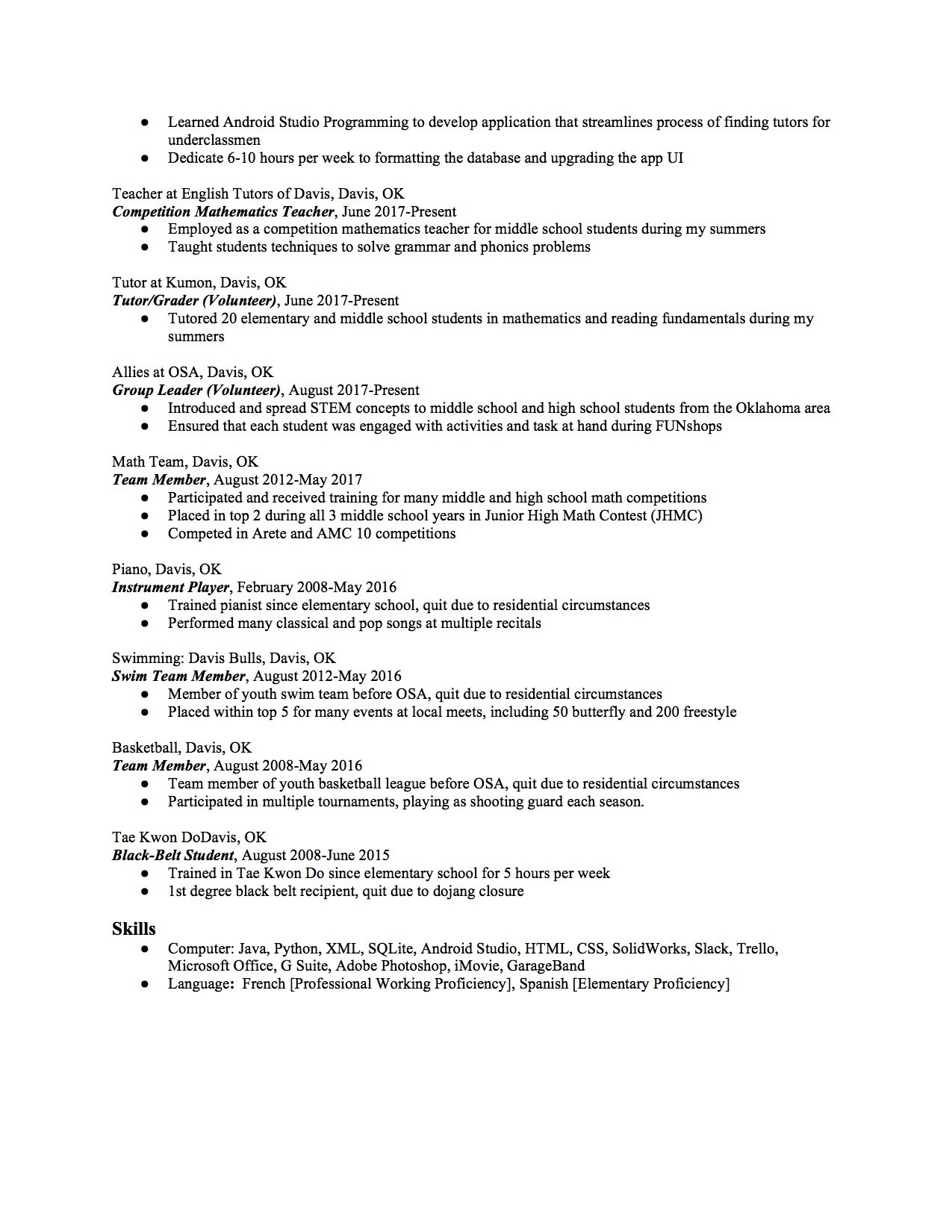 High School Resume Template Copy And Paste