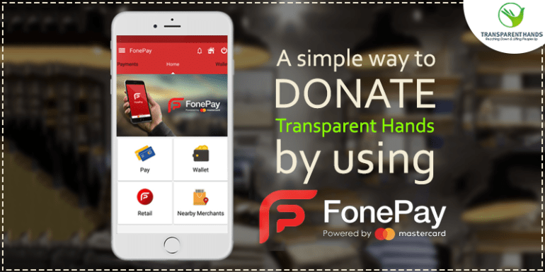 A simple way to Donate Transparent Hands by using Fonepay