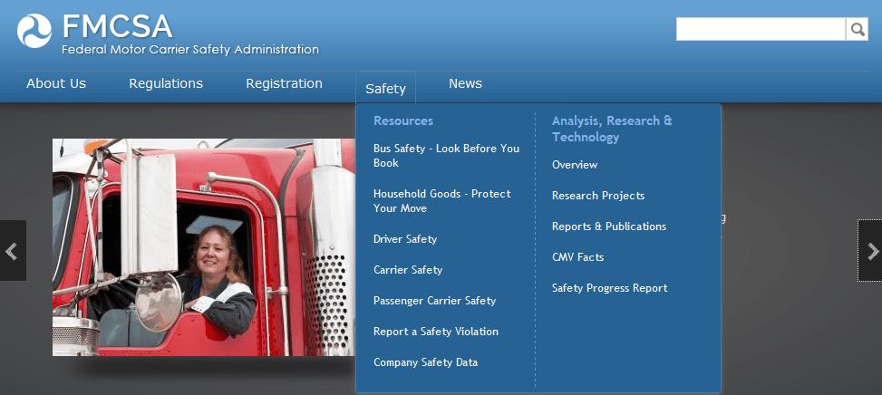 Screen capture of fmcsa-dot-d.o.t-dot-gov