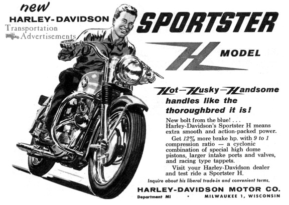 1958 Harley-Davidson Sportster H Model Advertisement